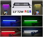 "13""72W App Bluetooth Control Cree LED RGB Multi Color Off Road Light Bar Shipped"
