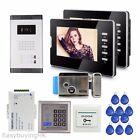 "7"" Video Door Phone Intercom System for 2 Apartments+ Electric Lock+RFID Control"
