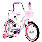 "Girls 16"" Schwinn Bloom Purple and Pink Kids Bike Training Wheels Pink Basket"