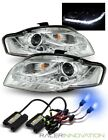 10000K HID/For 2006-2008 Audi A4 Chrome DRL LED Strip Projector Headlights Lamps