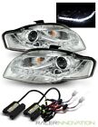 6000K HID/For 2006-2008 Audi A4 Chrome DRL LED Strip Projector Headlights Lamps