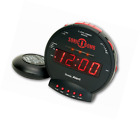 Sonic Bomb Alert Loud Dual Vibrating Round Alarm Clock with Bed Shaker, Black