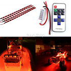 One set 4pcs Car Boat Wireless Remote Control Motorcycle Red LED Light Strip Kit