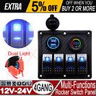 4 Gang Rocker Automotive Switch Panel 2USB Charger Voltmeter LED Car Marine Boat