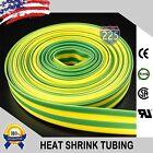 "25 FT 25' Feet GREEN & YELLOW 3/8"" 9mm Polyolefin 2:1 Heat Shrink Tubing RoHS UL"