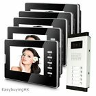 "Apartment 5-Unit Wired 7"" Color Video Door Phone Intercom System with 5 Monitors"