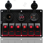 6 Gang Waterproof Rocker Switch Control Panel with Red LED for Car Marine Boat