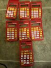 Lot of 7 Texas Instruments Solar Powered Mathmate Calculators With Covers