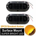 "2X 6"" 10 LED Surface Mount Oval Smoked Amber Turn Signal Park Marker Tail Light"