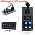 Boat Marine Car On-Off LED Rocker Switch Panel Dual USB Charger Voltmeter Gauge