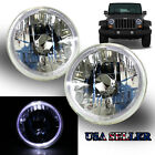 "WHITE LED HALO FOR FORD/DODGE! 7"" H6015 H6017 H6024 CLEAR REFLECTOR HEADLIGHTS"