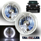 """WHITE LED RIM FOR FORD/DODGE! 7"""" H6015 H6017 H6024 CLEAR REFLECTOR HEADLIGHTS"""