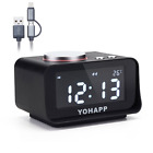 YOHAPP Alarm Clock FM Radio,with Dual Port USB Charger,Indoor Thermometer, Brigh