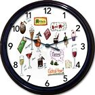Cocktail Hour Wall Clock Martini Cosmo Wine Olive Liquor Alcohol Booze New 10""