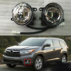 2PCS Front Bumper Fog Light Clear LED Refit for Toyota Highlander 2014