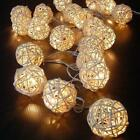 20 LED Warm White Rattan Ball String Fairy Lights Xmas Wedding Party Battery
