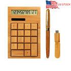 Wooden Bamboo Desktop Office Calculator 12 Digits Display Solar Battery 8GB USB