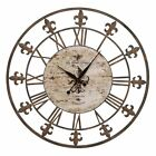 Aspire Home Accents Wrought Iron Fleur De Lis 36 in. Wall Clock, Antique Brown