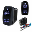 Car REAR LIGHTS On-Off Laser Etched Finger Rocker Switch Control 5 Pin Blue LED