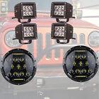 75W 7'' inch LED Headlight Bulb 3x3 Fog Lamp Pods Kit for Jeep Wrangler JK Ford