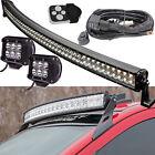 Jeep JK TJ 52 inch Osram LED Light Bar Curved + 2X 4 inch CREE Spot Pods ATV SUV