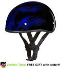 Daytona Blue Flames Skull Cap DOT Slim Motorbike Motorcycle Helmet 2XS - 2XL
