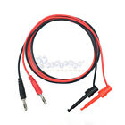 Injection-type 4mm Banana plug to Test Hook Clip probe cable test leads US SHIP