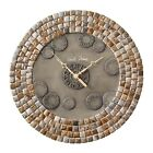 """14"""" Metal Clock With Porcelain Tiles. Silent, Non Ticking. Silver Nickel Finish."""