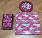 "Home Decor Teen/Kids Pink Camo Wall Clock 9""D ~Magnetic Board ~ Pencil Box"