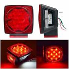 """Qty2 Boat Red LED Square Lights Trailer Under 80"""" Tail Stop Brake Without Wiring"""