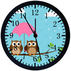 Cute Owl Black Frame Wall Clock Nice For Decor or Gifts E313