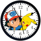Pokemon Pikachu Ash Black Frame Wall Clock Nice For Decor or Gifts E326