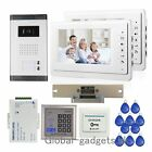 "New Wired 7"" Apartment Video Door Phone Intercom System+RFID Card Access Keypad"