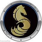 """Beneteau Horse Round Sticker 7""""x7"""" Black background"""