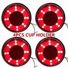 4X Marine Stainless Steel Red LED Car Drink Cup Holder-Insert Atmosphere Light