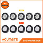 "10PC 2"" Round Amber+Red Side Marker Lights 9LED Reflector Clear Lens W/Grommet"