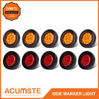 "10PC 2"" Round 9 LED Amber+Red Side Marker Clearance Light Kit/Grommet/Wire Plug"
