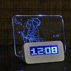 Blue LED Fluorescent Digital Alarm Clock with Message Board USB 4 Port Hub Desk