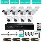 8CH Remote Access DVR 1080P 5500TVL Outdoor CMOS CCTV Security Camera System 1TB