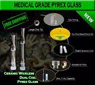 Dual Coil Ceramic Wickless .5mL Pyrex Glass Vape Cartridge Lot Amount 510 thrds