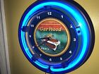 **GarWood Wooden Boat Fishing Garage Blue Neon Man Cave Wall Clock Sign