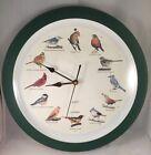 "Singing Birds Quartz Chirping Clock 1997 MFA 12 Different Bird Sounds Green 8"""
