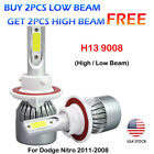 Front H13 9008 LED Headlight High Low Light Bulb For Dodge Nitro 2011-2008 4PACK