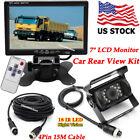 "RV Truck Trailer 4Pin Reversing Parking Backup Camera +7"" LCD Rear View Monitor"