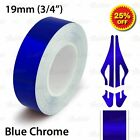 """19mm 3/4"""" PinStriping Pin Stripe Tape SOLID Line Decal Vinyl Sticker BLUE CHROME"""