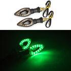 2X LED Running Water Motorcycle Turn Signal Flasher Light Brake Green Indicator