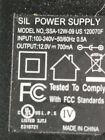 SIL Power Supply SSA-12W-09 120070F US AC Adapter Power Supply 12V 700mA
