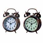 Twin Bell Alarm Clock Backlight Silent Desk Bed Cute Metal Table Clock Bronze