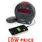 Alarm Clock Vibrating Loud Sonic Boom JR. Bed Shaker Deaf Hearing Impaired Black