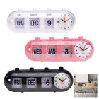 Flip Digital Battery Alarm Clock Timer Calendar Desk Display White/ Black/ Pink